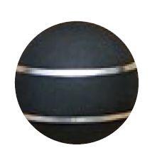 Jakele Kammergriffkugel Aluminium, schwarz, harteloxiert, mit 2-silberfarbenen Fäden